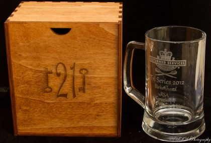 Laser engraved beer mug with hand made box