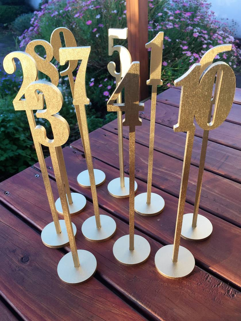 Laser cut table numbers 1-10- gold or silver painted