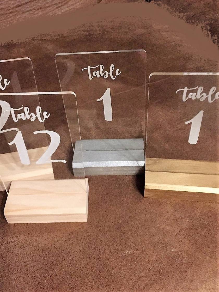 Acrylic and wood table numbers - laser engraved