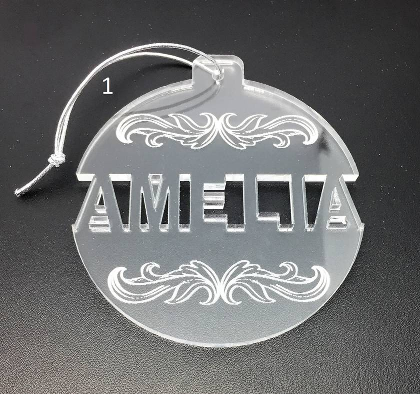 Individual cut out acrylic personalised Christmas decoration