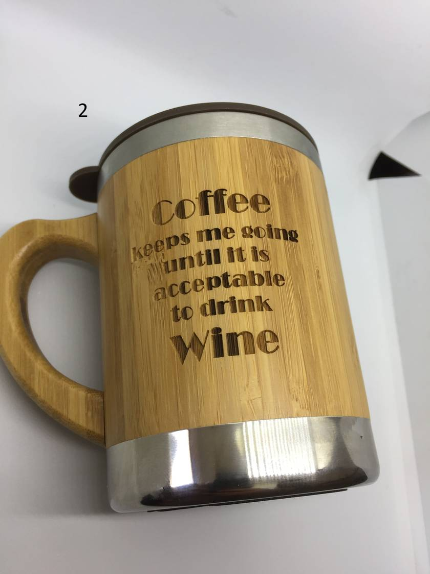 New product Sale! Eco Bamboo Mug - two to choose from or we can custom engrave one for you!