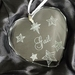 Personalised laser engraved crystal heart ornament