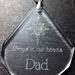 Personalised laser engraved crystal tear drop ornament for absent friends or family