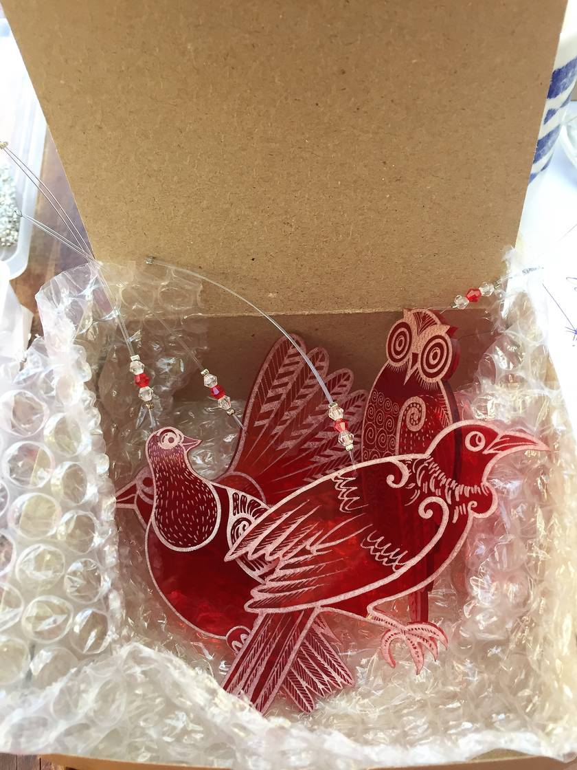 Native NZ bird laser engraved acrylic Christmas decorations - set of four