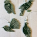 Native NZ bird laser engraved acrylic decorations - set of four green