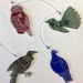 Native NZ bird laser engraved acrylic decorations - set of four mixed colour