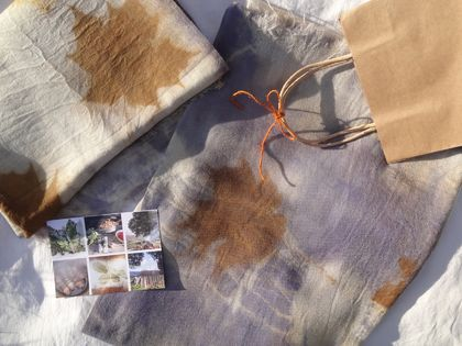 100% merino blanket dyed with grape skin extract & maple leaves