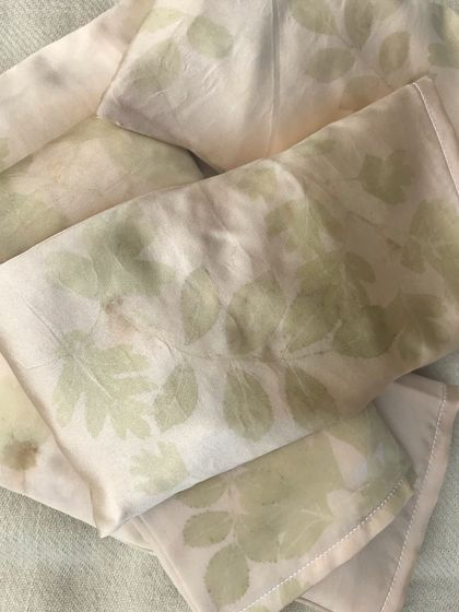 Plant dyed silk eye pillow filled with organic linseeds & lavender