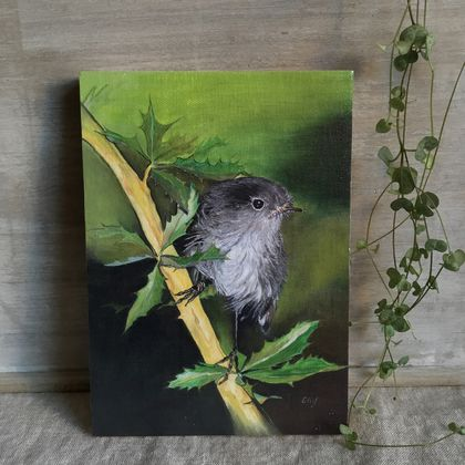 Black Robin - Giclee print mounted on wood