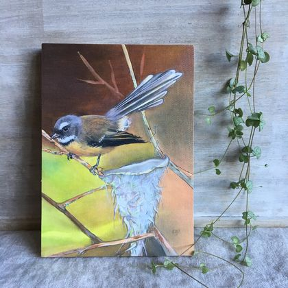 Fantail  (Piwakawaka) - Giclee print mounted on wood