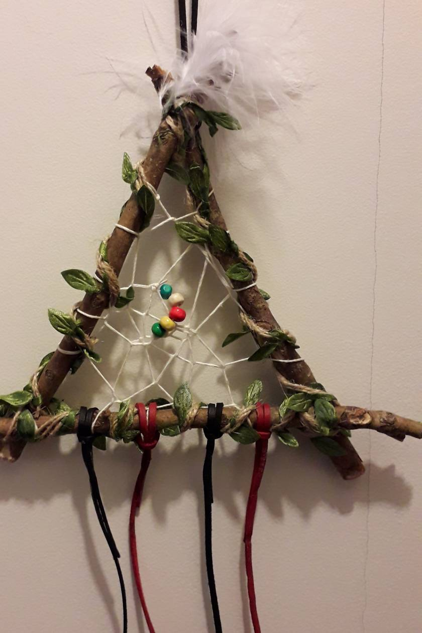 Homemade wood native American dreamcatcher