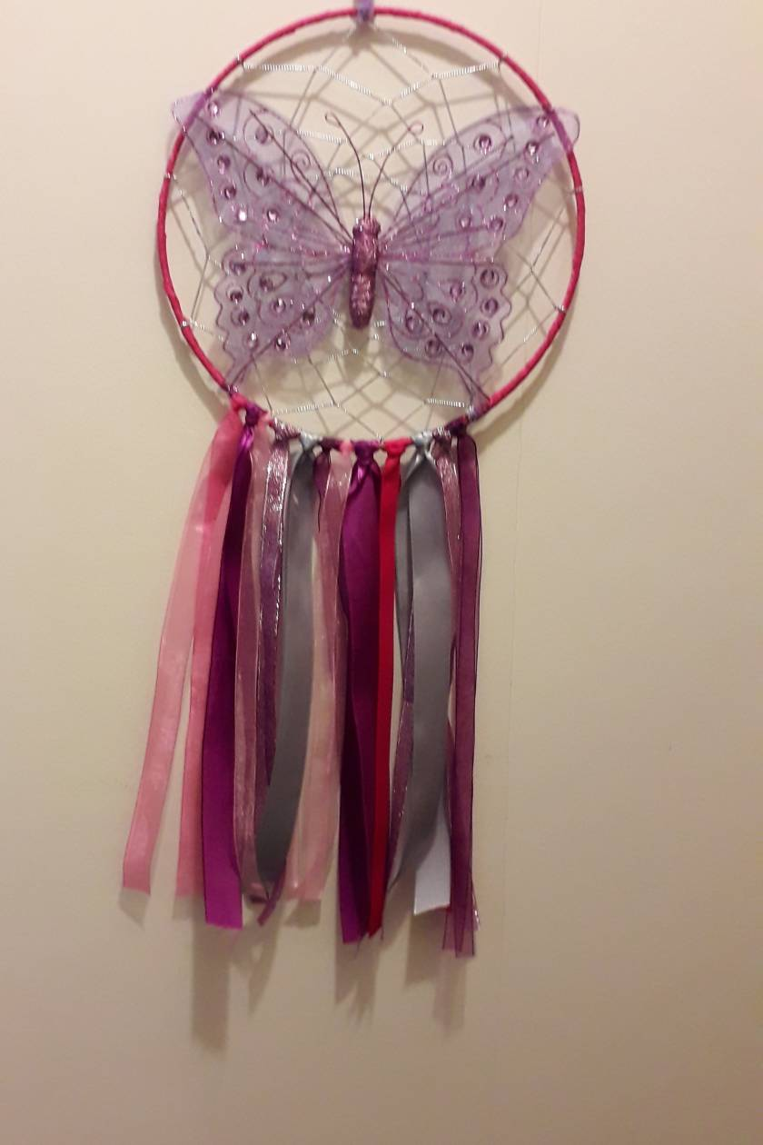 Purple butterfly dreamcatcher