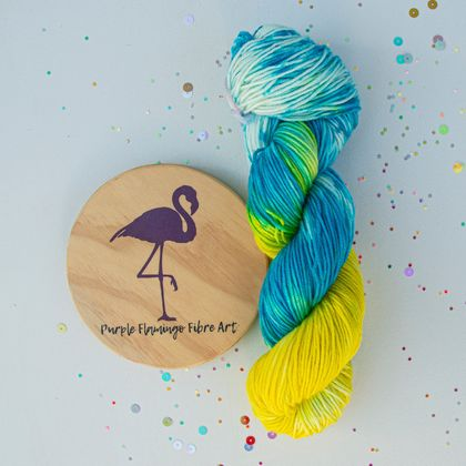 Hand dyed NZ Merino wool, blue to yellow