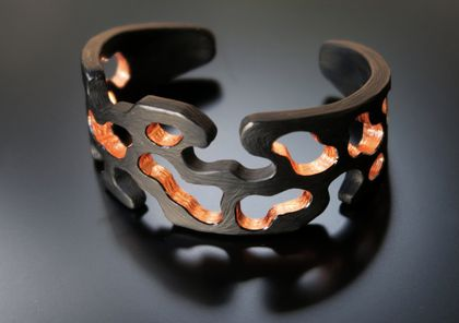 Reaction Diffusion Cuff: Black with Copper Leaf