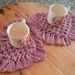 Dusty pink macrame heart coasters set of 2
