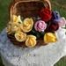 Crochet florist long stem roses