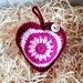 Crochet pinks burgundy Christmas baubbles set of 7