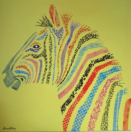 Patterned Zebra in rainbow colours