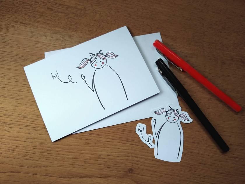 Kitty Greeting Card - hi!