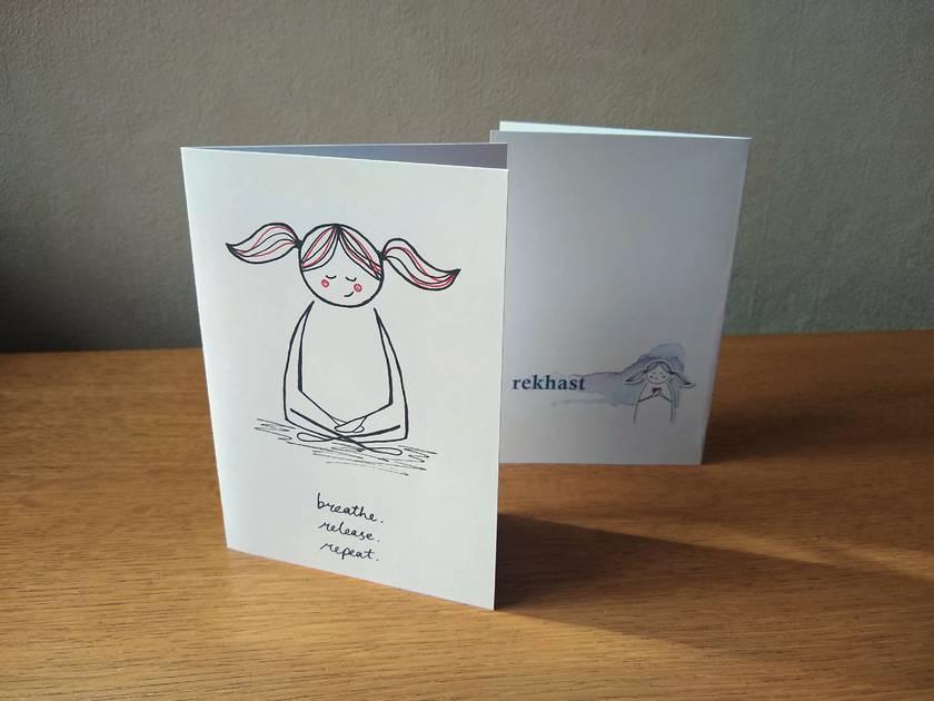 Cute Meditation Greeting Card - Breathe, release, repeat - Kawaii Mantra Gift Card