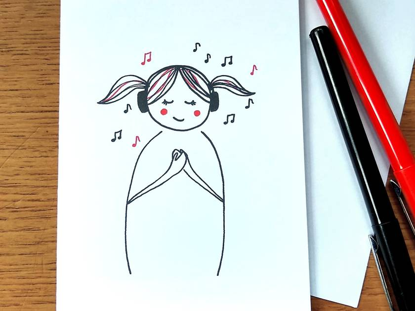Cute Music Greeting Card - Line Art of Cute Girl in Headphones