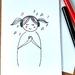 Cute Music Greeting Card - Line Art of Cute Girl in Headphones