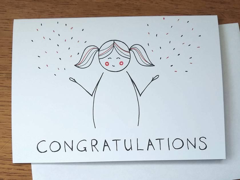 Cute Congratulations Card - Kawaii Line Art