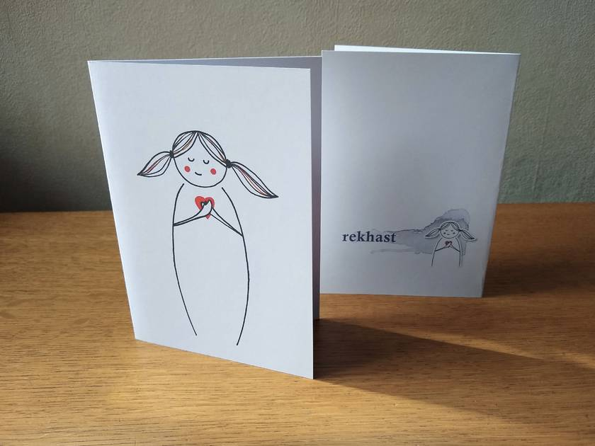 Heart-centred Greeting Card - Kawaii Line Art