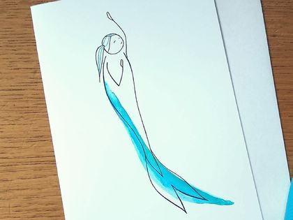 Mermaid Greeting Card - Watercolour and Line Art