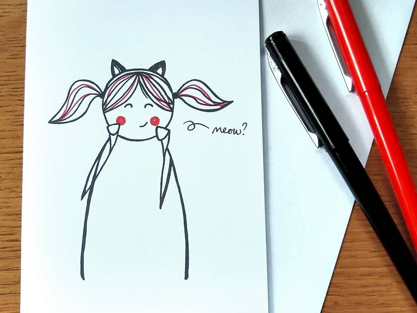 Kitty Greeting Card - Meow? - Kawaii Line Art