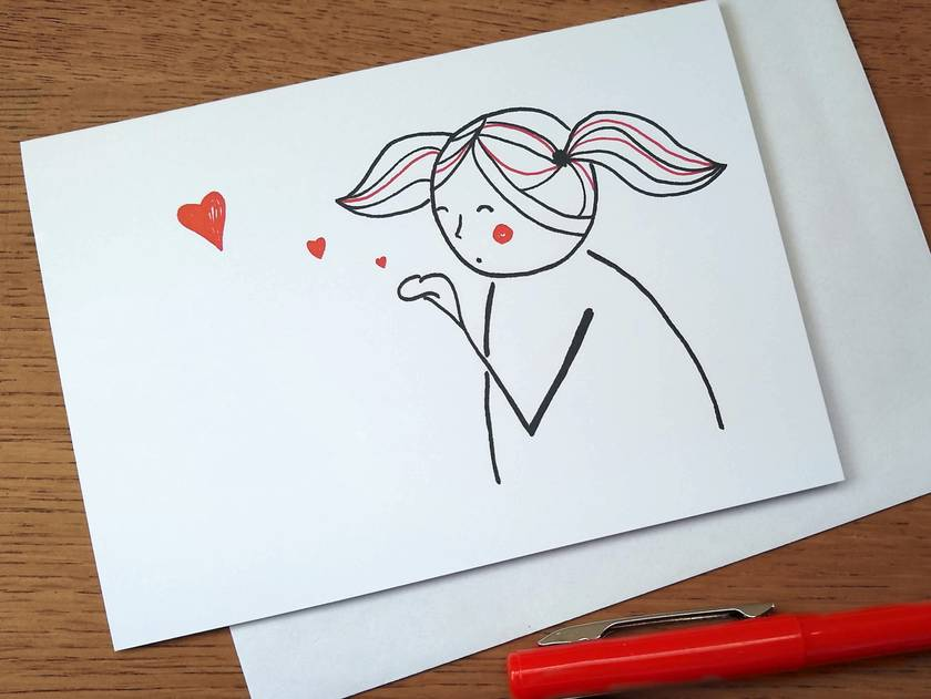 Kiss-blowing - Blank Greeting Card - You are loved