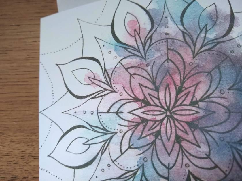 Deep Blossoming Mandala - Blank Greeting Card