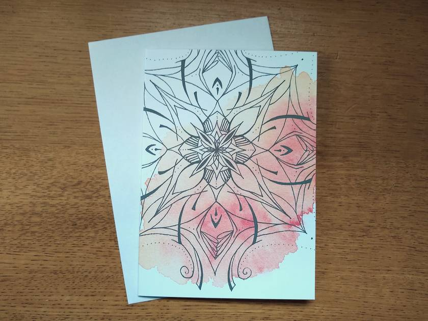 Queen of Wands Mandala - Blank Greeting Card