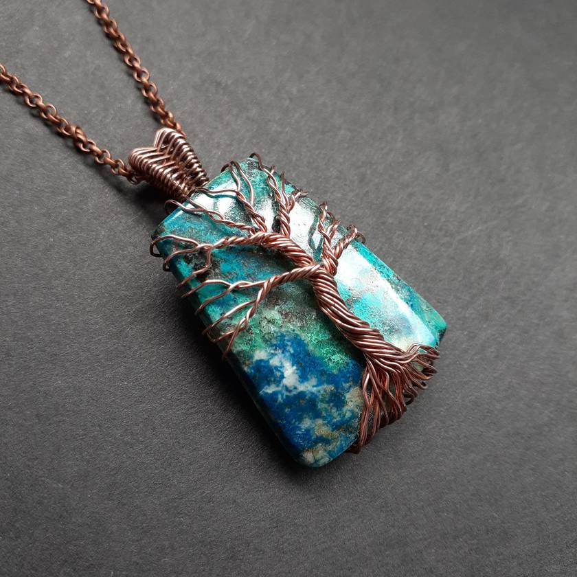 Copper tree on azurite pendant