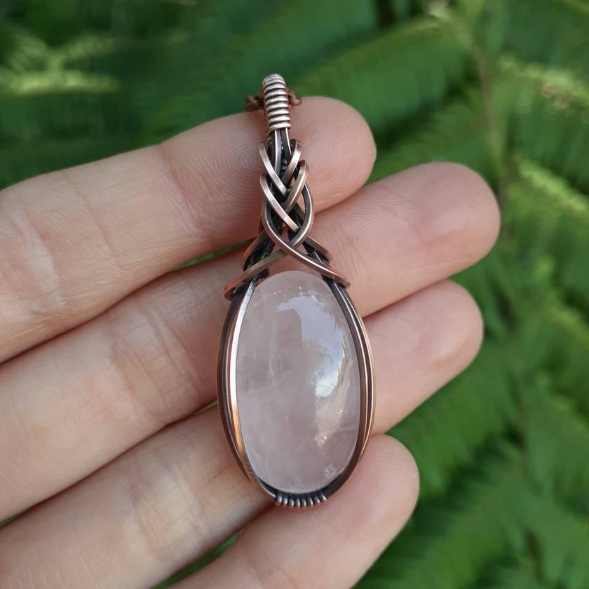 Copper rose quartz pendant