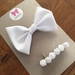 White Bow with white flower clip