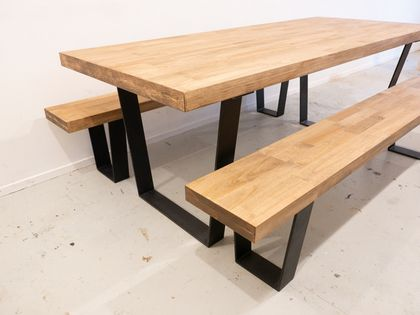 Timber Table and Benches with Steel Frame