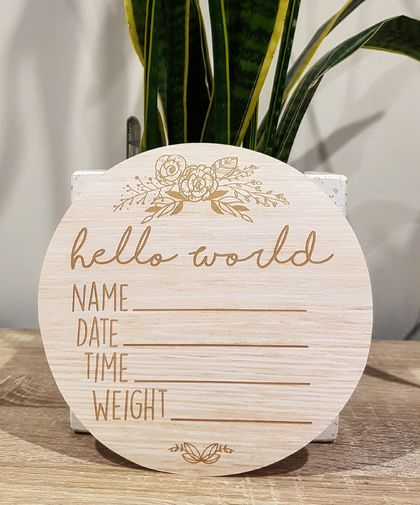 Wooden Look Birth Announcement Plaque