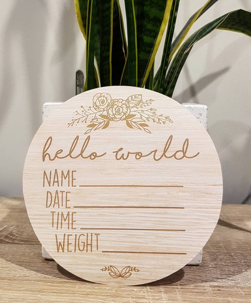Wooden Look Birth Announcement Plaque