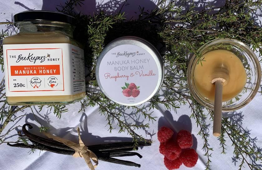 Handmade Manuka Honey & Beeswax Balm - Natural, Lemongrass, Raspberry & Vanilla. PALM OIL, FILLER & PARABEN FREE