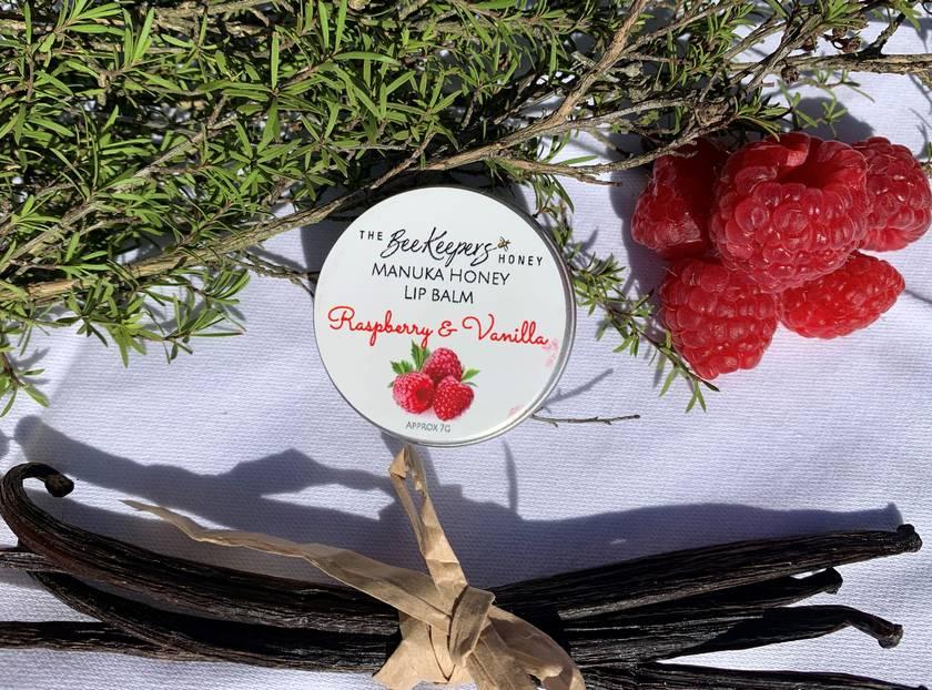 Manuka Honey & Beeswax Lip Balms - Vanilla, Strawberry & Raspberry & Vanilla - No Palm Oil, Parabens or Fillers