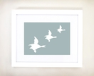 Framed Retro Flying Ducks Print