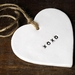Hugs & Kisses Ceramic Heart Ornament - Black