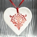 Red Nouveau Heart Ceramic Ornament Decoration