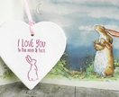 I Love You to the Moon & Back Ceramic Pink Heart Ceramic Decoration