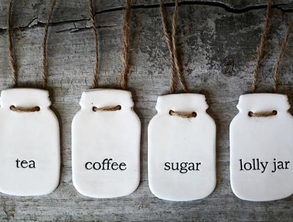 Set of 4 Mason Jar Labels - Tea, Coffee, Sugar & Lolly Jar | Felt