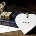 Hugs & Kisses Ceramic Heart Ornament - Black