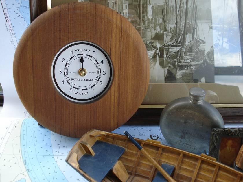 Tide clock - Teak wall clock