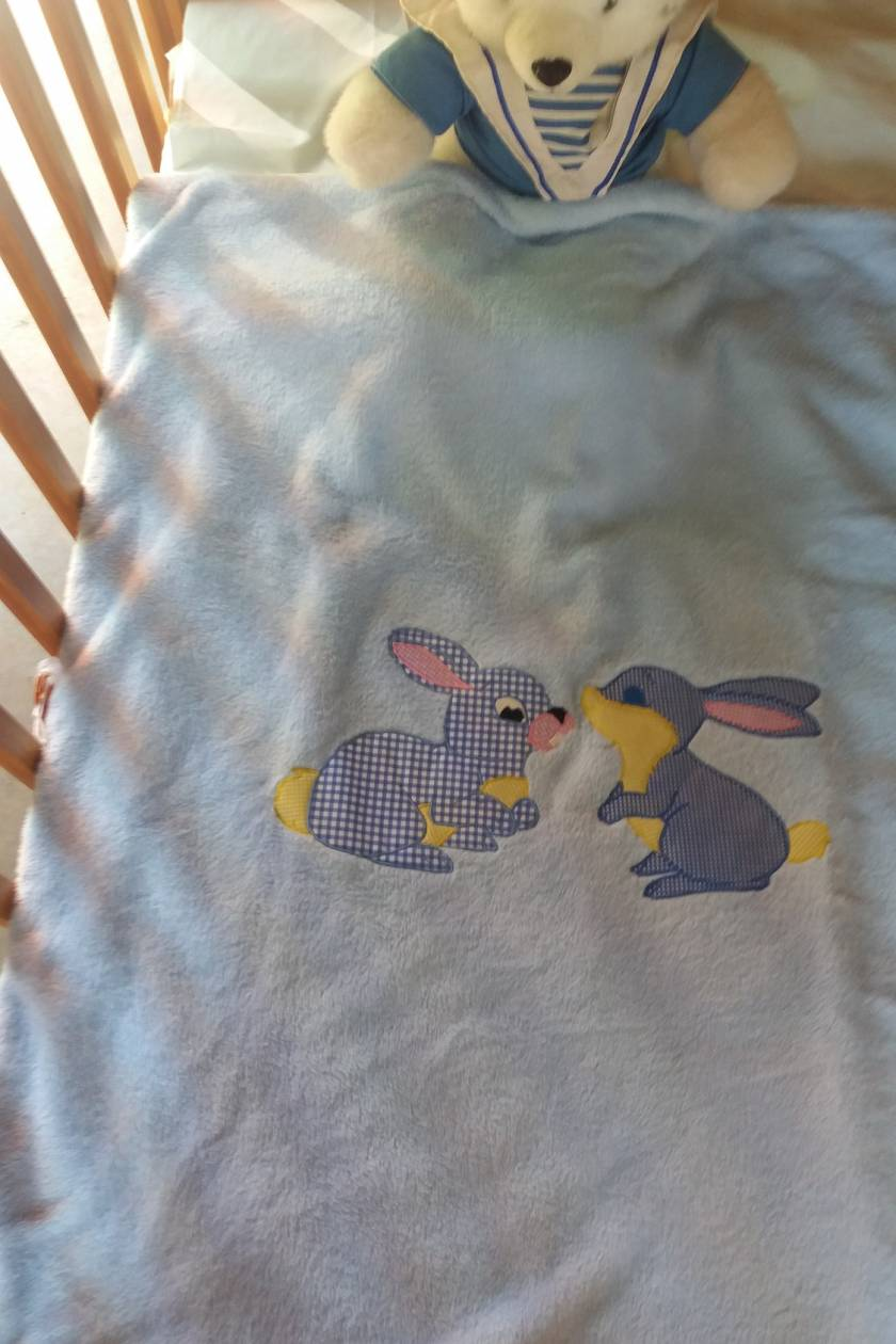 Baby Blanket Blue Bunnies