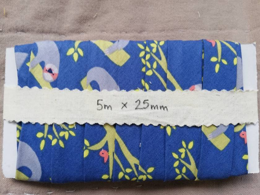 Blue SLOTH bias binding! - 25mm x 5m